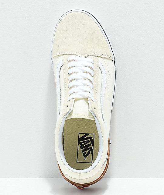 b25d3452b8d481 ... Vans Old Skool Gum Block White Skate Shoes ...