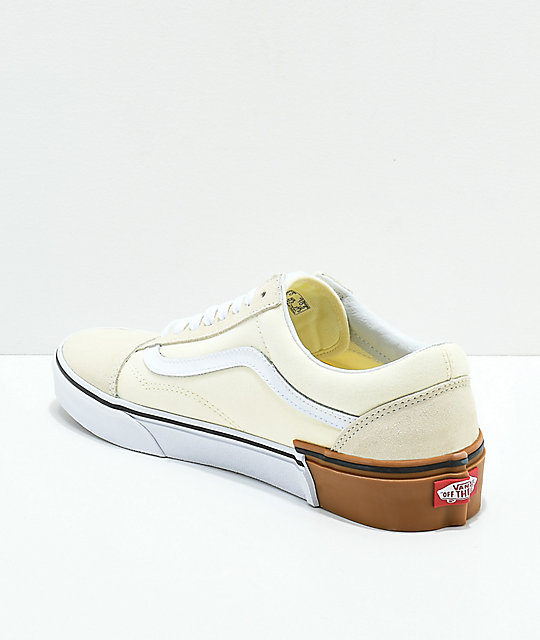 Vans Old Skool Gum Block White Skate Shoes