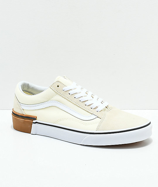 9524a968bf Vans Old Skool Gum Block White Skate Shoes
