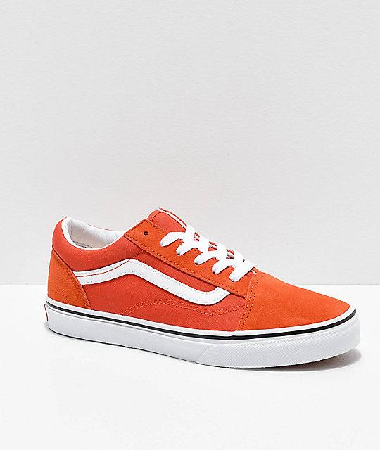 b9bc71dcd83c24 Vans Old Skool Koi Orange   White Skate Shoes