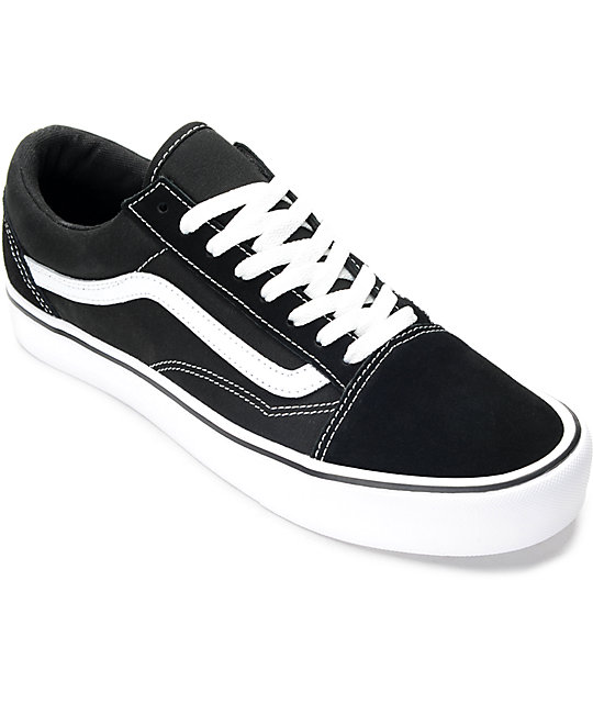 251fe5a40500 Vans Old Skool Lite Black   White Skate Shoes