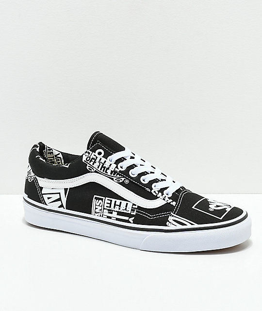Vans Old Skool Logo Mix Black   White Shoes ... 64eea7dc0d98