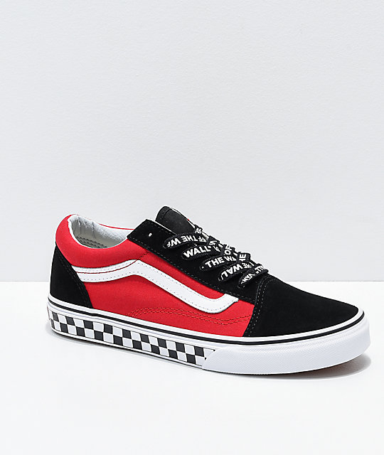 d5a02a3dff1b16 Vans Old Skool Logo Pop Red Skate Shoes