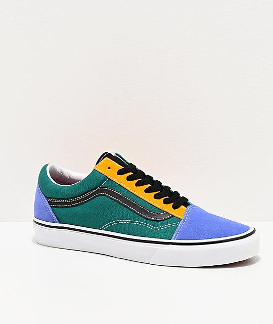 Vans Old Skool Mix Colorblock Yellow & Tidepool Skate Shoes