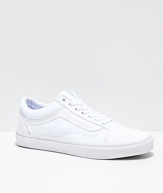9857ef059737 Vans Old Skool Mono White Skate Shoes