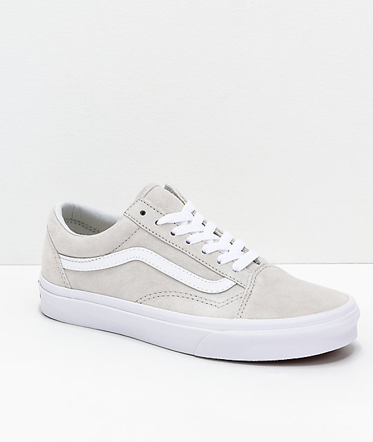 ec7442f8647317 Vans Old-Skool Moonbeam   White Pig Suede Skate Shoes