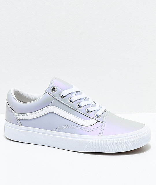 ceafc088f2 Vans Old Skool Muted Metallic Grey   White Skate Shoes