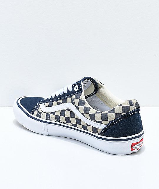 get online low cost los angeles Vans Old Skool Navy & White Checkerboard Skate Shoes