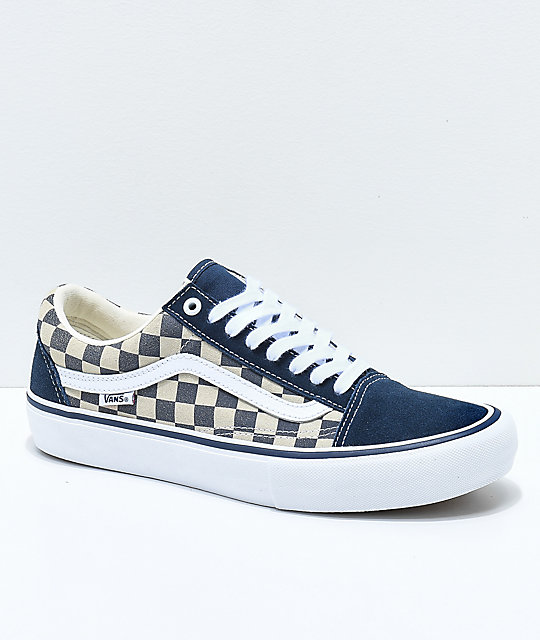 dcc1a27f77 Vans Old Skool Navy   White Checkerboard Skate Shoes