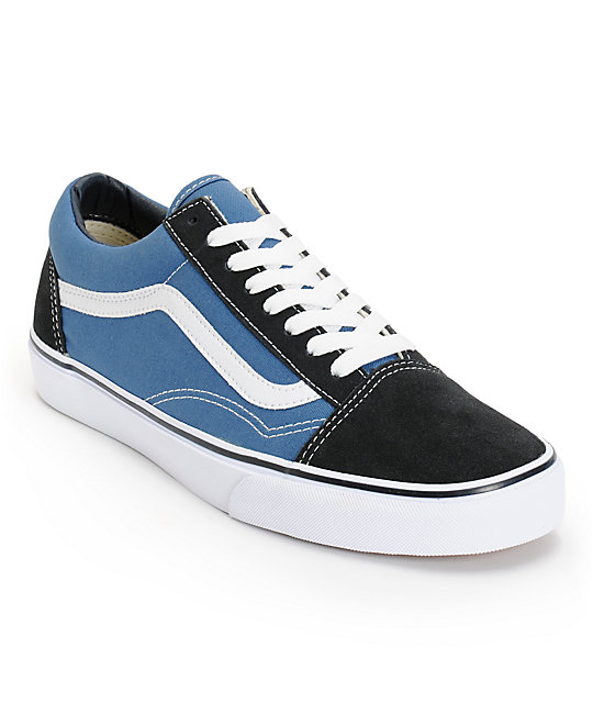 vans old skool black white blue