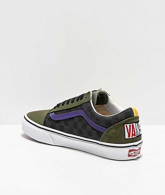 Vans Old Skool OTW Rally zapatos de skate de cuadros verdes y multicolor