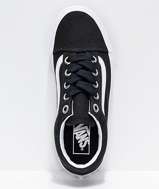 Vans Old Skool Oversized Lace Black White Shoes Zumiez Ca
