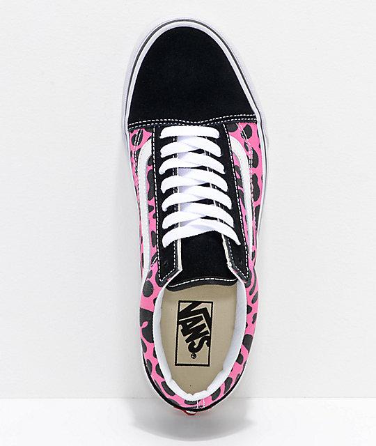 4be54fbc5418 ... Vans Old Skool Pink   Black Leopard Print Skate Shoes ...