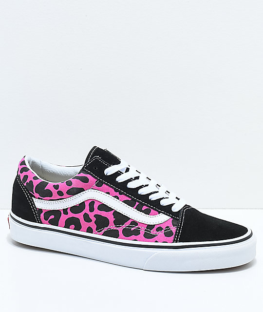 5cb8384c6ce3 Vans Old Skool Pink   Black Leopard Print Skate Shoes