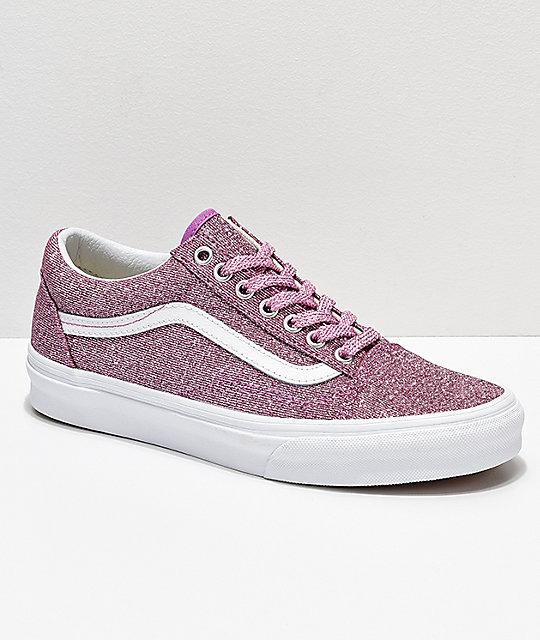 2bb46fc6746f5 Vans Old Skool Pink & White Glitter Skate Shoes