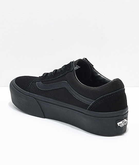 black vans old skool platform