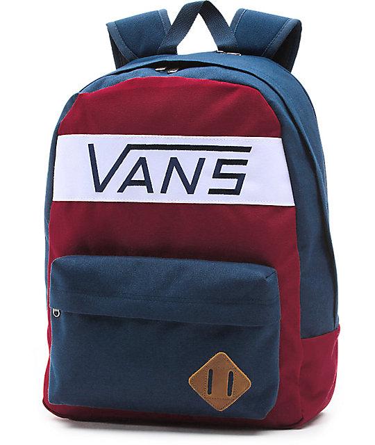 3c058635a Vans Old Skool Plus Rhubarb & Dress Blues 23L Backpack | Zumiez