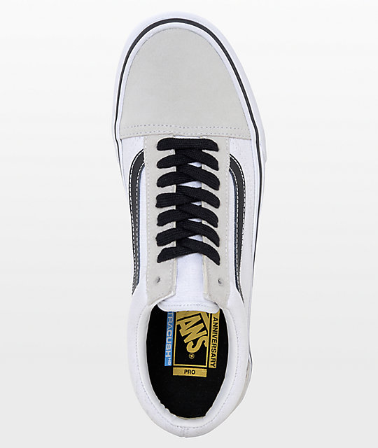 1fee36ce3b3597 ... Vans Old Skool Pro 50th Anniversary White   Black Skate Shoes ...