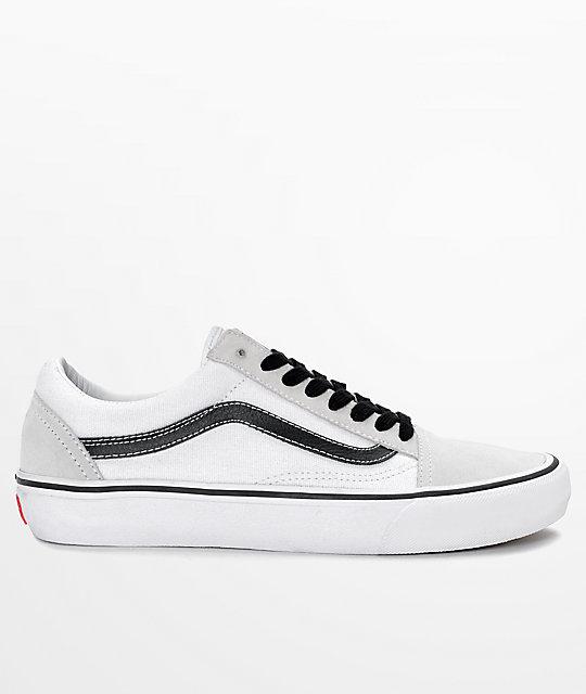 555e4219a8b995 ... Vans Old Skool Pro 50th Anniversary White   Black Skate Shoes