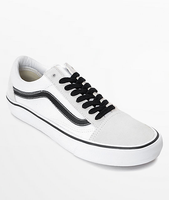 c60a2a8311 Vans Old Skool Pro 50th Anniversary White   Black Skate Shoes