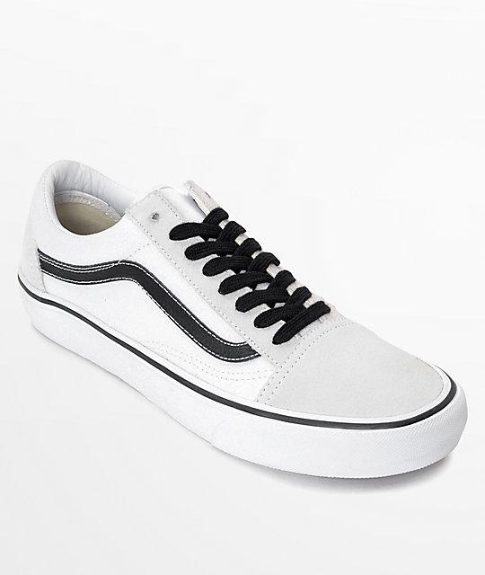 vans white leather black stripe