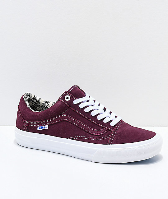 ba3fd4eef3 Vans Old Skool Pro Barbee Burgundy Skate Shoes