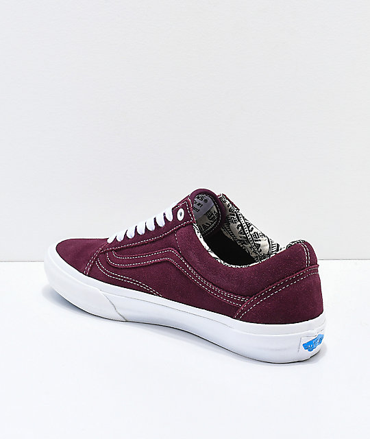 Vans Old Skool Pro Barbee zapatos de skate de color borgoño