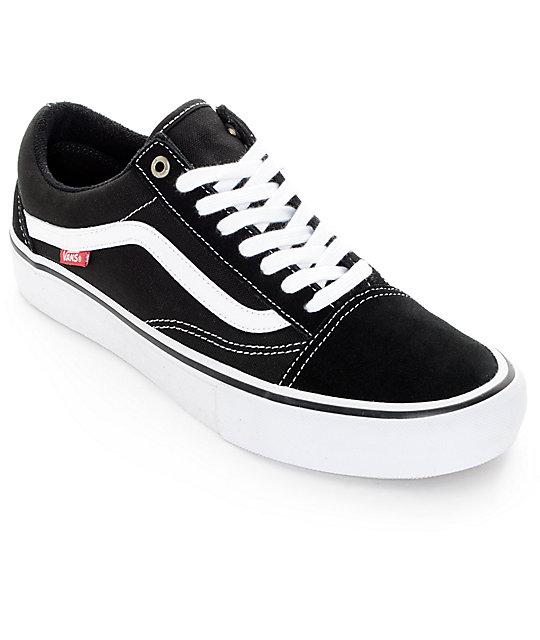9c3d469b0e8fe7 Vans Old Skool Pro Black   White Skate Shoes