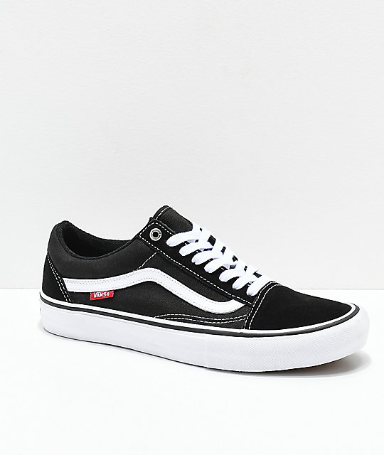 7339b28b902 Vans Old Skool Pro Black   White Skate Shoes