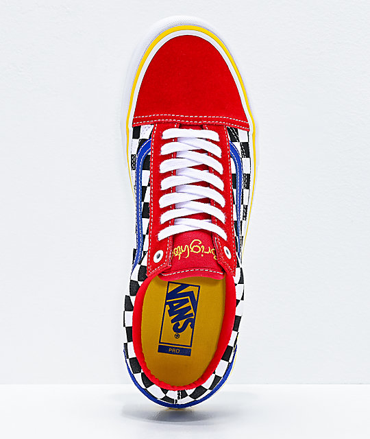 Vans Old Skool Pro Brighton Red, Blue & White Skate Shoes