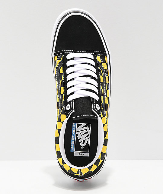 1792e7c14 Vans Old Skool Pro Checkerboard Black & Gold Skate Shoes | Zumiez
