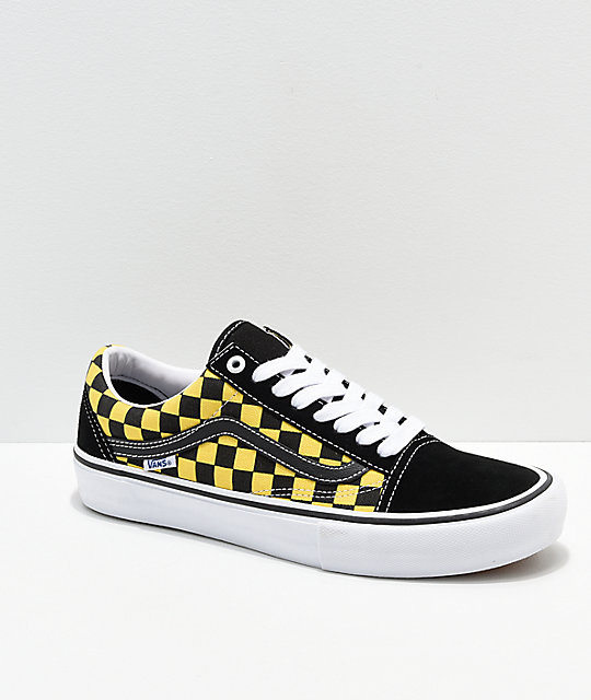 9d2706bc7d455c Vans Old Skool Pro Checkerboard Black   Gold Skate Shoes