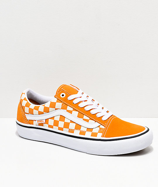 776e73bcdda250 Vans Old Skool Pro Cheddar   White Checkerboard Skate Shoes
