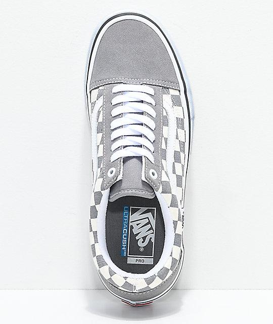 Vans Old Skool Pro Grey Checker White Skate Shoes Zumiez