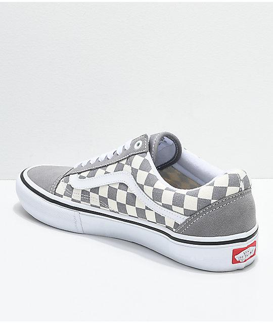 ab2c3521b0d ... Vans Old Skool Pro Grey Checker   White Skate Shoes ...