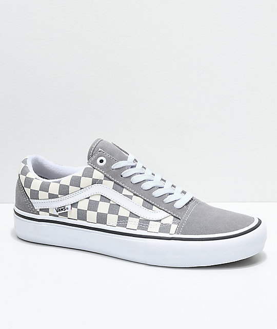 dede39dcdd Vans Old Skool Pro Grey Checker   White Skate Shoes