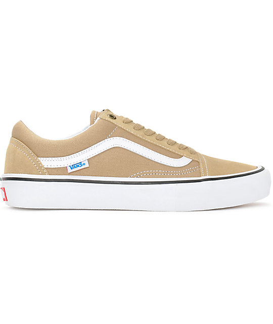 Vans Old Skool Pro Khaki & White Skate Shoes