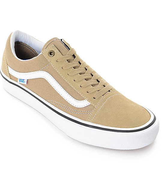 best website 2be2a a4146 Vans Old Skool Pro Khaki & White Skate Shoes