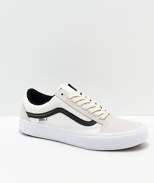 Vans Old Skool Pro Marshmallow & Black Skate Shoes