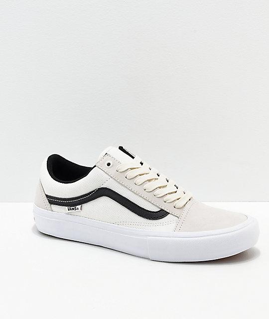 68462693 Vans Old Skool Pro Marshmallow & Black Skate Shoes