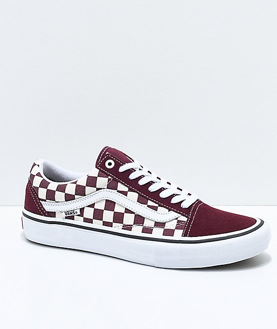 ce7557bc9860f9 Vans Old Skool Pro Port Royal   White Checkered Skate Shoes