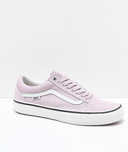 b90e15e6fa4 Vans Old Skool Pro Violet Ice   White Skate Shoes