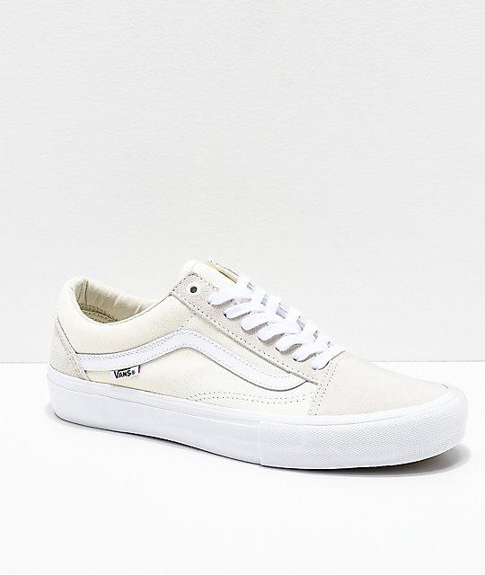 43e8624bfd Vans Old Skool Pro White Skate Shoes
