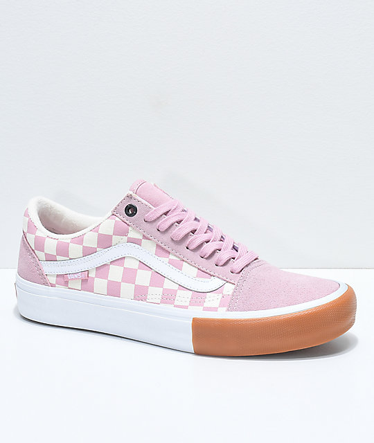 vans old skool pink checkerboard