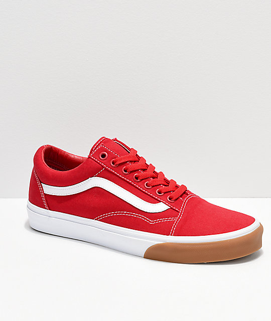 comprar online c93f2 85064 Vans Old Skool Red, White & Gum Bumper Skate Shoes