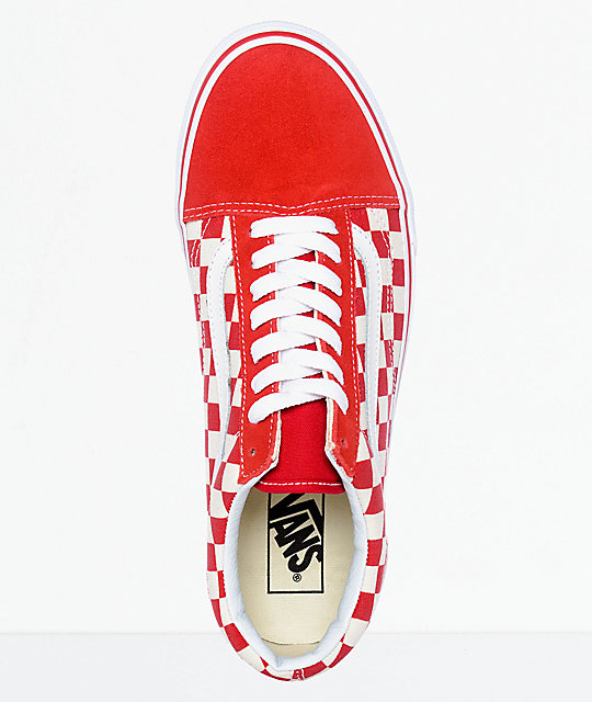 5d21880640f ... Vans Old Skool Red   White Checkered Skate Shoes ...