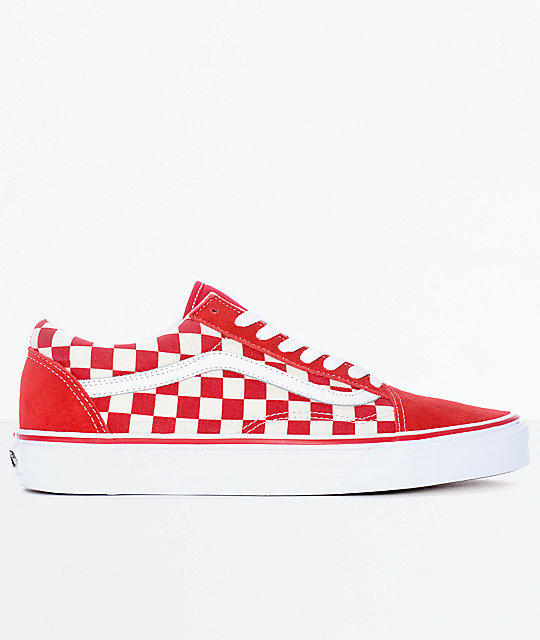 1559a6c33fec6b ... Vans Old Skool Red   White Checkered Skate Shoes ...