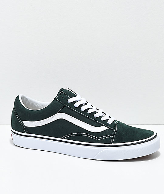 d64ed25662ce9f Vans Old Skool Scarab Green   White Skate Shoes
