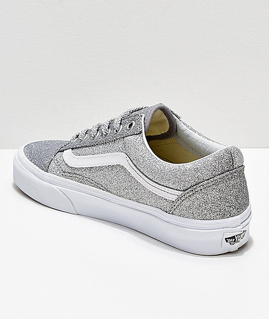 6300d6b1b9a6 ... Vans Old Skool Silver   White Glitter Skate Shoes ...