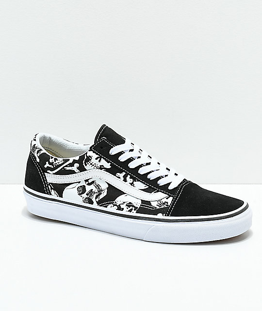 Vans Old Skool Skulls Black   White Skate Shoes  68f6b4467